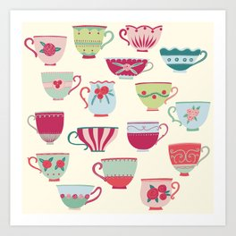 China Teacups Art Print