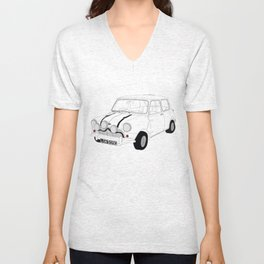 The Italian Job Blue Mini Cooper Unisex V-Neck