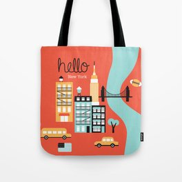 Hello New York - retro manhattan NYC icons illustration Tote Bag