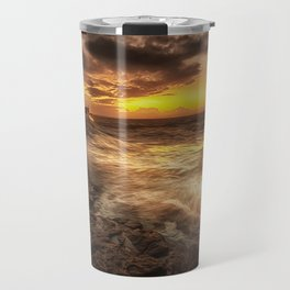 Porthcawl Sunrise with an oil painting effect on the sea Travel Mug