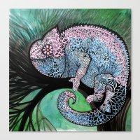 chameleon Canvas Prints featuring Chameleon by oxana zaika