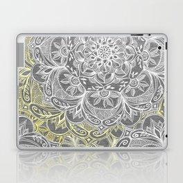 Yellow & White Mandalas on Grey Laptop & iPad Skin