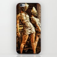 silent hill iPhone & iPod Skins featuring Deadly Duo Silent Hill Nurses by Joe Misrasi