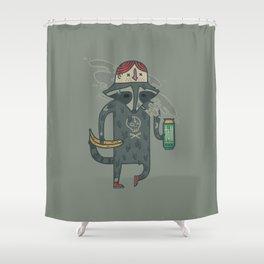 "Raccoon wearing human ""hat"" Shower Curtain"