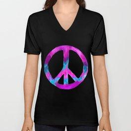 Purple Turquoise Watercolor Tie Dye Peace Sign on Purple Unisex V-Neck