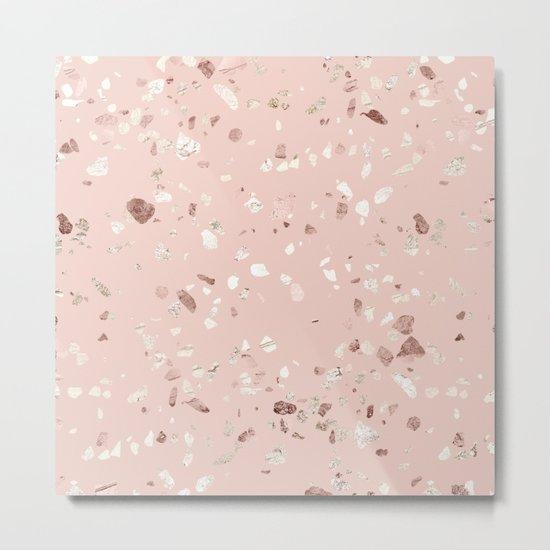Blush Pink + Rose Gold Terrazzo Metal Print