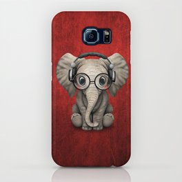 Cute Baby Elephant Dj Wearing Headphones and Glasses on Red iPhone Case