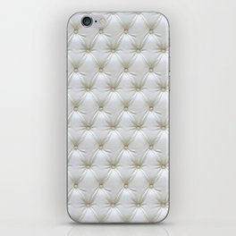 Faux White Leather Buttoned iPhone Skin
