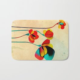 Exotic Watercolor Flower Bath Mat
