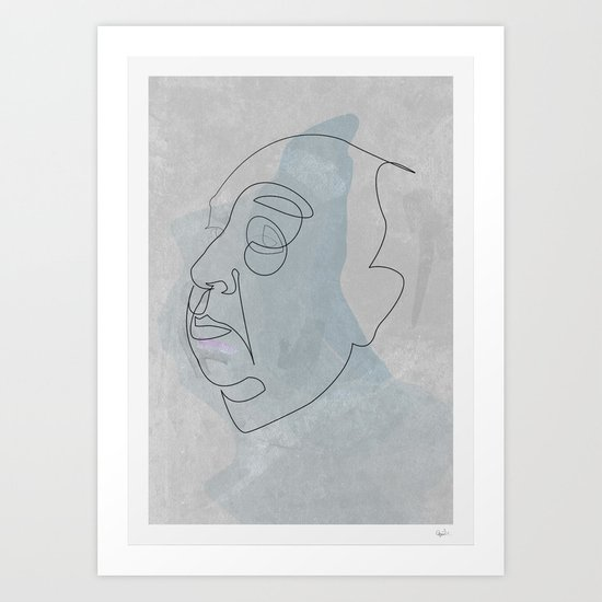 One line Hitchcok Art Print