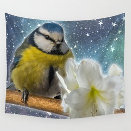 Baby Bird with White Flower Wall Tapestry