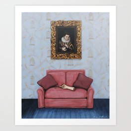 Portrait of a Stymied Lady and her Dog Art Print