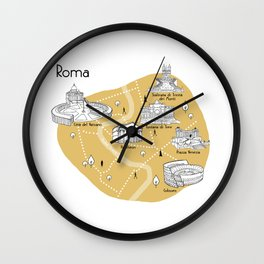 Mapping Roma - Yellow Wall Clock