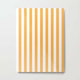 Narrow Vertical Stripes - White and Pastel Orange Metal Print