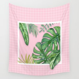 Green on Pink Wall Tapestry