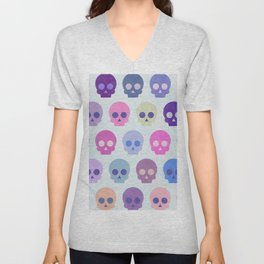 Colorful Skull Cute Pattern III Unisex V-Neck