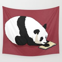 reading Wall Tapestries featuring Reading Panda by Ursula Rodgers