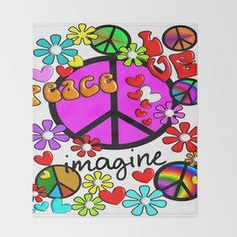 Imagine Peace Sybols Retro Style Throw Blanket