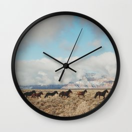 Running Reservation Horses Wall Clock