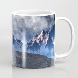 Sharped edged mountains with cloudy sky and full moon Coffee Mug