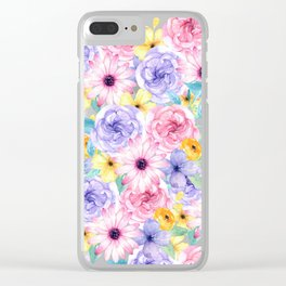 Trendy pink lavender yellow watercolor floral Clear iPhone Case