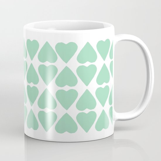 Diamond Hearts Repeat Mint Mug