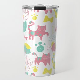 Abstract lime green pink cute cats pattern modern typography Travel Mug