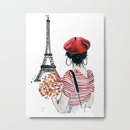 Paris Eiffel Tower Girl watercolor illustration Metal Print