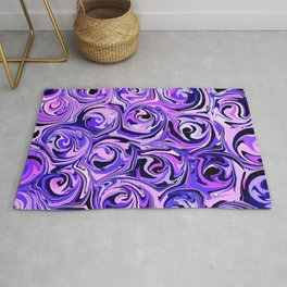 Violet and Lilac Paint Swirls Rug