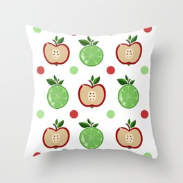 Apples and Lime Throw Pillow