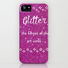 Quirky funny glitter - pink iPhone Case