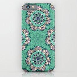 Floral Mandala Tile in Mint & Lavender iPhone Case