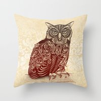 ornate Throw Pillows featuring Most Ornate Owl by Rachel Caldwell