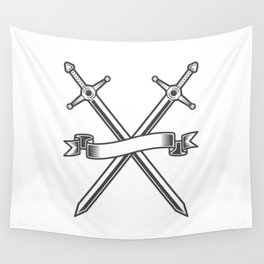 Medieval swords knight crusader with ribbon Wall Tapestry
