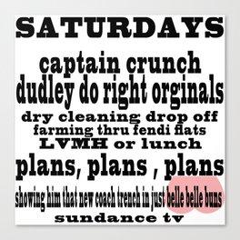 Definition of Saturday #2 Canvas Print