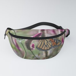Monarch Butterfly on Celosia Plant / hot pink and orange  Fanny Pack