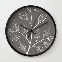 White and Gray Branch and Leaves Wall Clock