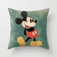 mickey Throw Pillows featuring Mr. Mickey Mouse by Ed Burczyk