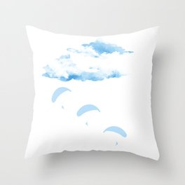Paragliding In The cloudy Sky Throw Pillow