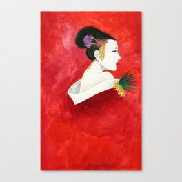 Red Wall Geisha Canvas Print