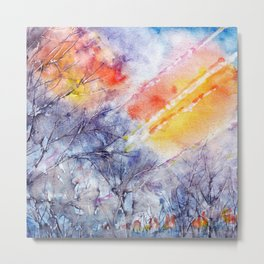 Sunrise in early spring abstract watercolor background Metal Print