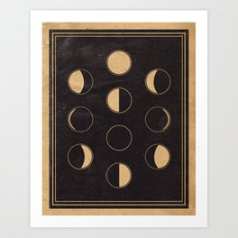 Lunar Phase Chart Imagery Art Print