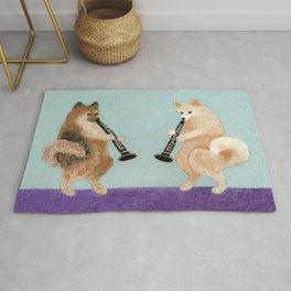 Pomeranian Dogs Playing Clarinets Rug