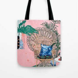 Peacock Chair in Pink Jungle Interior Tote Bag