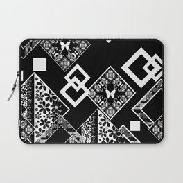 Black and white applique 2 Laptop Sleeve