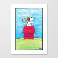 snoopy Canvas Prints featuring pilot Snoopy by DROIDMONKEY