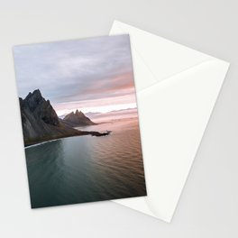 Iceland Mountain Beach Sunrise - Landscape Photography Stationery Cards