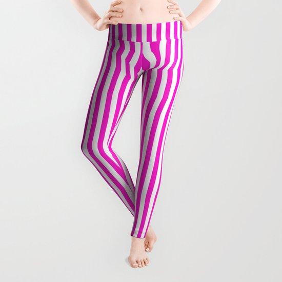 Vertical Stripes (Hot Magenta/White) Leggings