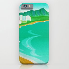 Waikiki Beach Diamond Head Watercolor in Kitschy Mid Century Style iPhone Case