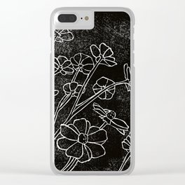 Dark Flowers Clear iPhone Case